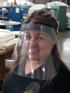 Lady in Sterling Shirt wearing Face Shield